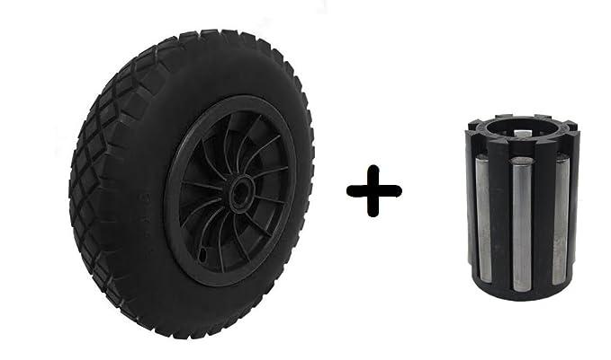 "PU 14/"" BLACK Puncture Proof Solid 3.50-8 wheelbarrow wheel 20MM NEEDLE BEARINGS"