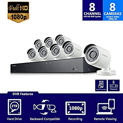 Samsung Wisenet SDH-B74081BN 8 Channel 1080P Full HD DVR Video Security System with 2TB Hard Drive and 8 1080p Weather Resistant Bullet Cameras (SDC-9443BC) - (Certified Refurbished) from Hanwha Techwin America