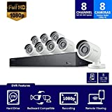 Samsung Wisenet SDH-B74081BN 8 Channel 1080P Full HD DVR Video Security System with 2TB Hard Drive and 8 1080p Weather Resistant Bullet Cameras (SDC-9443BC) - (Renewed)
