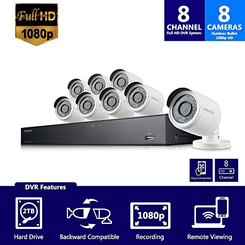 Samsung Wisenet SDH-B74081BN 8 Channel 1080P Full HD DVR Video Security System with 2TB Hard Drive and 8 1080p Weather Resistant Bullet Cameras (SDC-9443BC) - (Certified (Night Cctv Box)