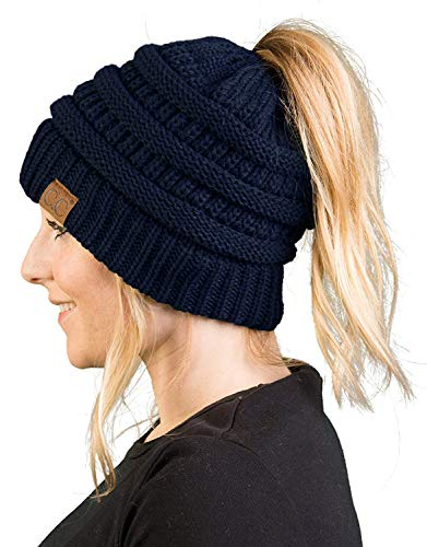 Hat Womens Knit Navy - BT-6020a-31 Messy Bun Womens Winter Knit Hat Beanie Tail - Navy