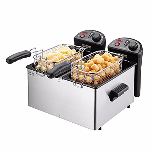 Delki DK-202 Electric Smart Deep Fryer Double Safety Sensor Large 2 Baskets 3.5Lx2