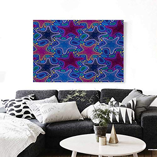 Psychedelic Wall Paintings Dotted Starfish and Pebbles Maritime Theme Aquatic Animal Pattern Print Print On Canvas for Wall Decor 36