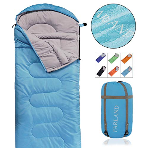 FARLAND Camping Sleeping Bag-Envelope Mummy Outdoor Lightweight Portable Waterproof Perfect for 20 Degree Traveling,Hiking Activities(Sky Blue/Left Zip, Rectangular)