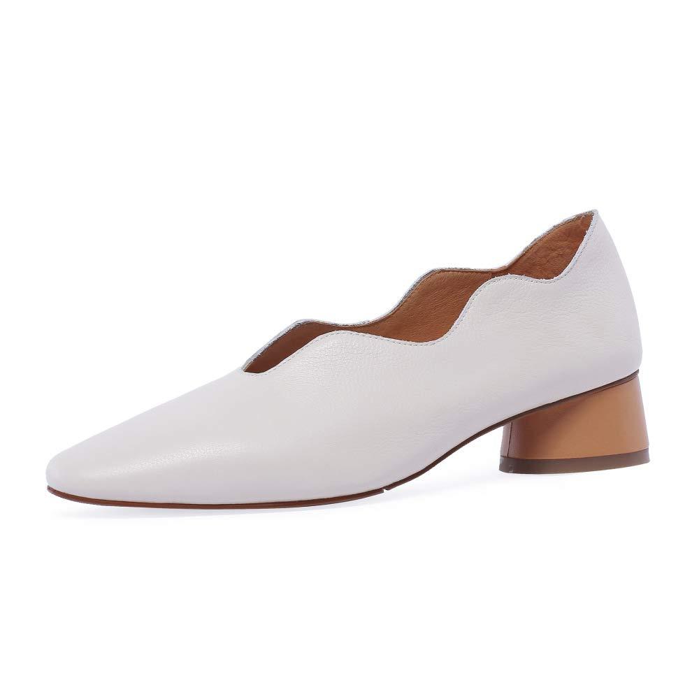 GLTER Frauen Spitze Leder Schuhe 2019 Frühling Sommer Bequeme Low-Ferse Schuhe Mode VieJahreszeiten Einzelne Schuhe