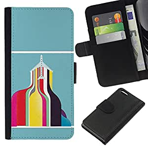 JackGot ( Resumen Edificio del trullo Rosa Amarillo ) Apple iPhone 5C la tarjeta de Crédito Slots PU Funda de cuero Monedero caso cubierta de piel