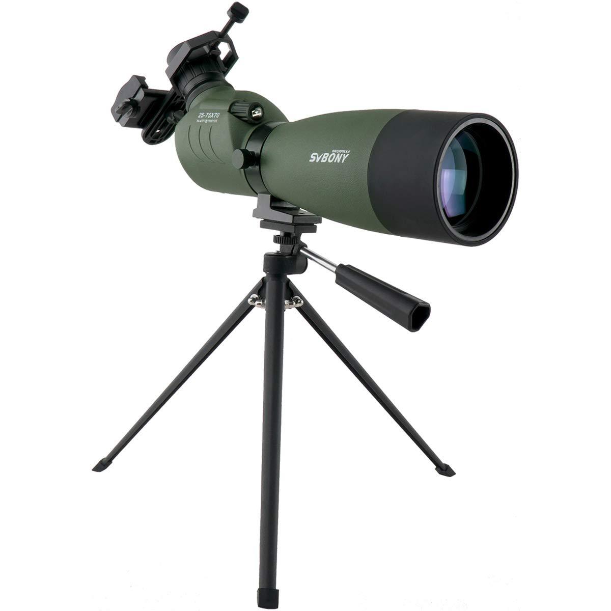 SVBONY SV14 25-75x70mm Spotting Scope with Tripod Bak4 Prism Spotting Scope with Tripod and Phone Adapter for Target Shooting Waterproof FMC Optical Lens by SVBONY