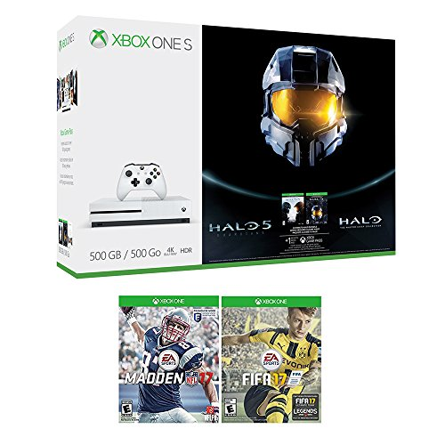 51WhFshprXL - Xbox Halo Sports Bundle (3 Items): Xbox One S 500GB Ultimate Halo Console Bundle, NFL 17, and FIFA 17 Games