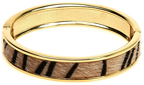 Lova Jewelry Thin Animal Print Safari Gold Tone Hinge Metal Bangle Bracelet