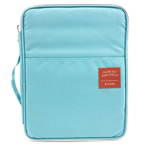 (Amazing Tour A4 Documents Case Files Tickets Organizer Zipped Storage Messenger Portable IPad Bag Handbag Day Pack Multi-Function for Travel and Office Sky Blue Bag)