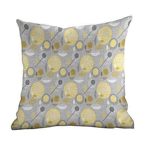 boppy Pillow Covers for Girl,Yellow Flower,Abstract Geometric 60s Pattern in Modern Design and Pastel Colors,Pale Yellow Pale Grey,Household Pillowcase Zippered Pillow Covers18 x18 ()