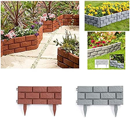Pack Of 4 Plastic Brick Effect Lawn Garden Grass Edging Skirting Border Picket Fence In 2 Colours Grey Amazon Co Uk Garden Outdoors