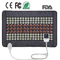 "UTK Far Infrared Heating Pad for Back Pain Neck Pain Cramps 21""x31"" Dense 108 Jade and 42 Tourmaline Stones Matrix 150 Watt Fast Heat Up [Model Medium pro]"