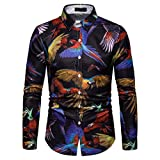 NUWFOR Men's Long Sleeve Graffiti Painting Large Size Casual Top Blouse Shirts(Multi Color,L US Chest:42.5''