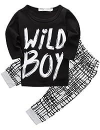 """Bebé Niños Primavera Otoño Manga Larga """"Wild Boy playera y pantalones Outfit"""