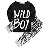 Baby Boys 'Wild Boy' T-shirt and Grid Pants Outfit (Long sleeve,12-18M)