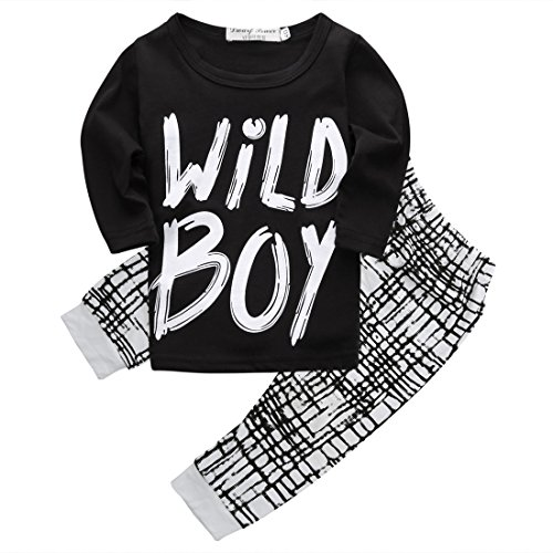 "Baby Boys ""Wild Boy"" T-shirt and Grid Pants Outfit (Long sleeve,0-6M)"