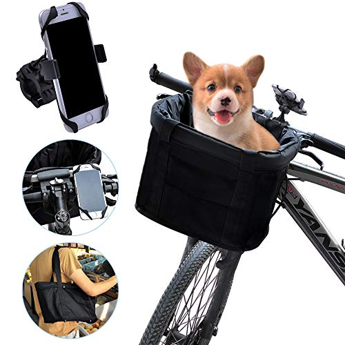 AceList Black Bicycle Basket Front Baskets Picnic, Pet Cat Dog Carrier Basket Shopping Bag, Folding Detachable Removable Easy Install Quick Released & Bonus Cell Bicycle Phone Mount
