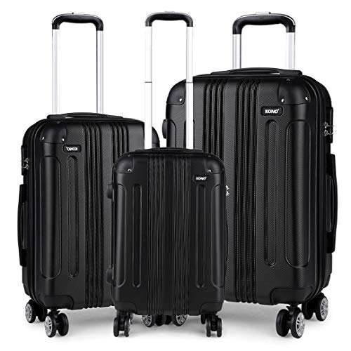Kono Luggage Sets of 3 Piece Lightweight 4 Wheels Hard Sheel ABS Travel Trolley Suitcases