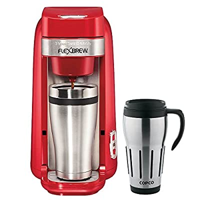 Hamilton Beach Single-Serve Coffee Maker, FlexBrew Red (49960) with Copco 24-Ounce Big Joe Thermal Travel Mug