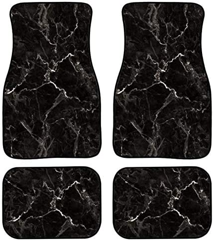 PHAYON 4 Pieces Car Floor Mats Black Marble Print Car Carpets Full Sets Universal Fit for SUV, Vans, Sedans, Trucks All Weather Protection Auto Foot Carpet
