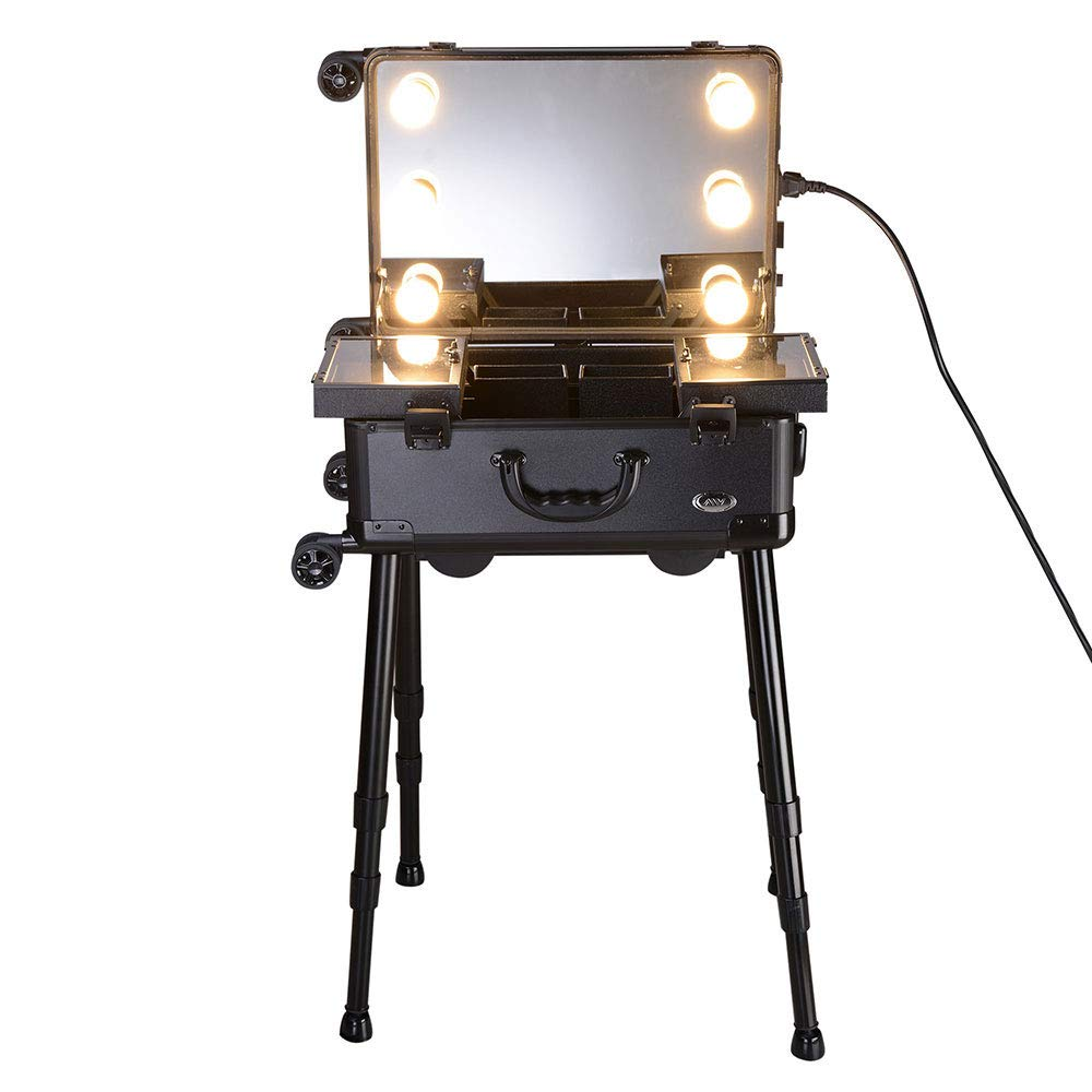 AW Rolling Makeup Case 12x8x20'' with LED Light Mirror Adjustable Legs Lockable Train Table Studio Artist Cosmetic by AW (Image #3)