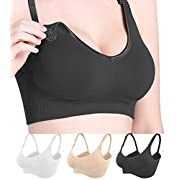 3 Pack Nursing Bra for Breastfeeding Women Maternity Bralette Wireless Sleeping Bras(Black/Beige/White,M)