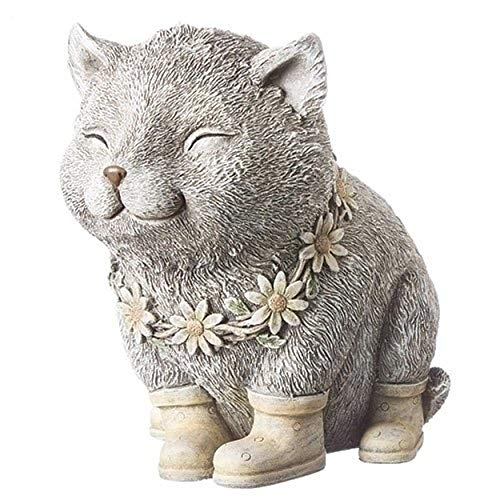 Rainy Day Pudgy Cat Textured Gray 7.5 x 8 Resin Stone Outdoor Garden Statue