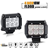 TURBO SII  4 Inch Flood Beam Led Work light 18W 1620LM LED Pods Offroad Driving Lamps For Jeep JK Boat Truck Suv Utv 4WD 4X4 12V-24V