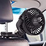 LEMOISTAR Battery Operated USB Car Fan,Electric Car Cooling Fan with 4 Speed,Work Quiet,360 Degree Rotatable Backseat Car Fan,5V Cooling Air Small Personal Fan for Car,Rear Seat Passenger Dog Kids etc