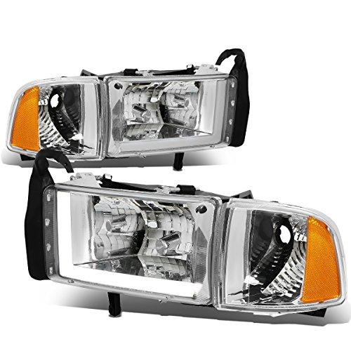 (For 94-01 Dodge Ram (Non-Sport Model) LED DRL Chrome Housing Amber Corner Headlights/Lamps - Pair )