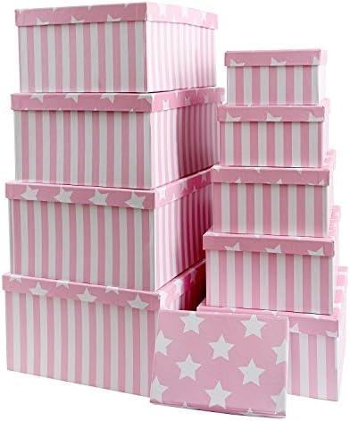 Caja de cartón para regalos o para almacenamiento, de cartón, con tapa, cartón estable con estrellas y rayas, juego 10 unidades, tamaño decreciente, papel, Rosa, 37,5cm x 29cm x 16cm - 19cm