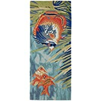 AREA RUGS -SOUTH SEAS INDOOR OUTDOOR RUG - 2 x 5 RUNNER - TROPICAL FISH RUG