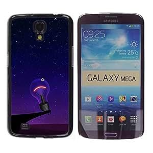 TopCaseStore / la caja del caucho duro de la cubierta de protección de la piel - Funny Lonely Lightbulb - Samsung Galaxy Mega 6.3 I9200 SGH-i527