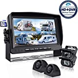 Backup Camera System with 9'' Large Monitor and DVR for RV semi Box Truck Trailer Rear and Side View Quad HD Camera 4 Split Screens Advanced Record Function IP69 Waterproof Avoid Blind spot erapta A9