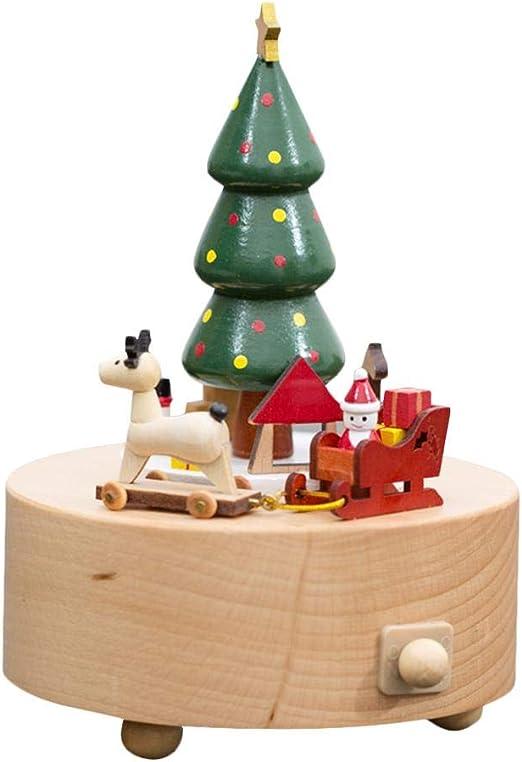 S-tubit Caja de música navideña de madera para niños y adultos ...