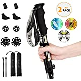 """NIANYISO Hiking Poles Collapsible Lightweight for Height 5'3""""-6'3"""", 2 Pack Adjustable Trekking Poles Aluminum Hiking Walking Sticks Anti Shock Walking Poles with Rubber Tips Handle for Women (Black)"""