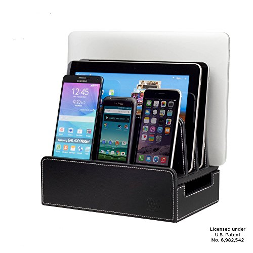 MobileVision Charging Station Slim Black Faux Leather Executive Stand and Docking Organizer for Multiple Devices, Smartphones, Tablets, & (Charger Docking Stand)