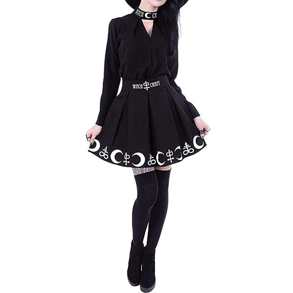 Clothful Woman Dress, Women Gothic Punk Witchcraft Moon Magic Spell Symbols Pleated Mini Skirt