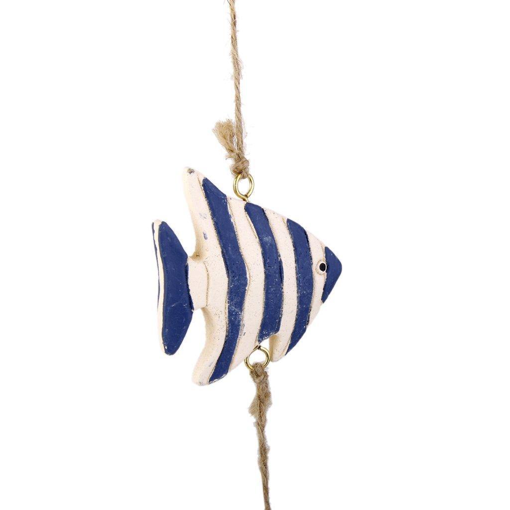 Guirlande de Poissons Tropicals Etoiles de Mer en Bois Clip /à M/émo Photo Art D/écoration Murale /à Suspendre Bleu