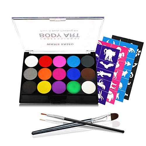 Face Painting Kits, 15 Colors 40 Stencils 2 Brushes, Water Based Body Makeup Non-Toxic Safe for Kids, Ideal for Halloween Party -