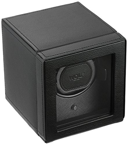 WOLF Unisex 461103 Wolf Cub Single Black Analog Display Watch Winder with Cover