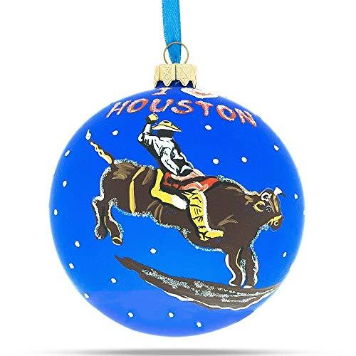 (BestPysanky I Love Houston Glass Ball Christmas Ornament 4 Inches)