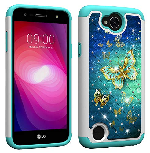 (NVWA for LG X Charge/Fiesta 2 LTE/Fiesta LTE / K10 Power/X Power2 (2017) Case Dual Layer Rugged Rubber Hybrid Hard Plastic Soft TPU Back Protective Cover Coloured Drawing Diamond Gold Butterfly)