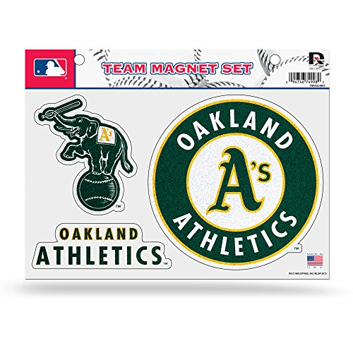Rico MLB Oakland Athletics Bling Team Magnet Set with Team Logos, 8.5 x 11-Inch, Clear