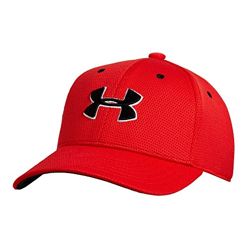 Under Armour Boys' Blitzing II Stretch Fit Cap, Risk Red/Black, (Stretch Fit Baseball Cap)