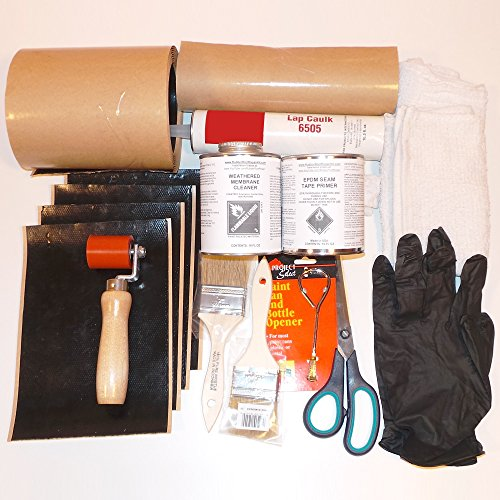 Roof Patch Kit - Rubber Roof Repair Kit: Tools + Materials + Cleaner + EPDM Primer - Everything You Need to Fix Rubber Roof