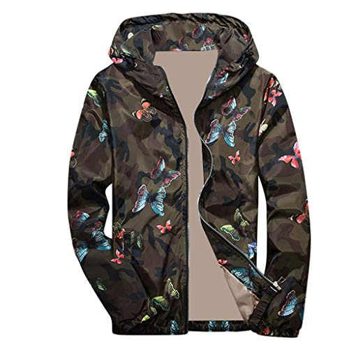 Sunhusing Men's Camouflage Butterfly Print Sports Jacket Autumn Winter Zip Long Sleeve Hooded Tops Blouse
