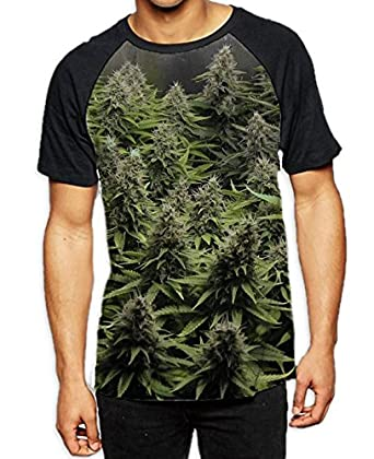 Cannabis Buds Men's All Over Print Graphic Contrast Baseball T Shirt