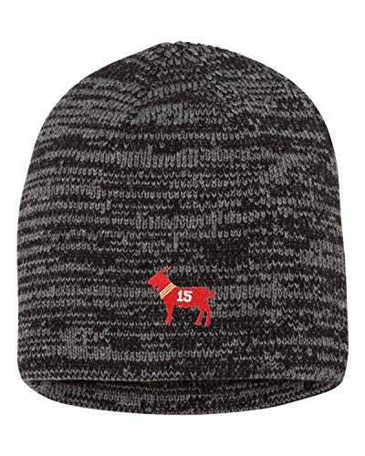 One Size Black/Dark Grey Adult Goat Mahomes #15 G.O.A.T. Embroidered Marled Knit Beanie Cap